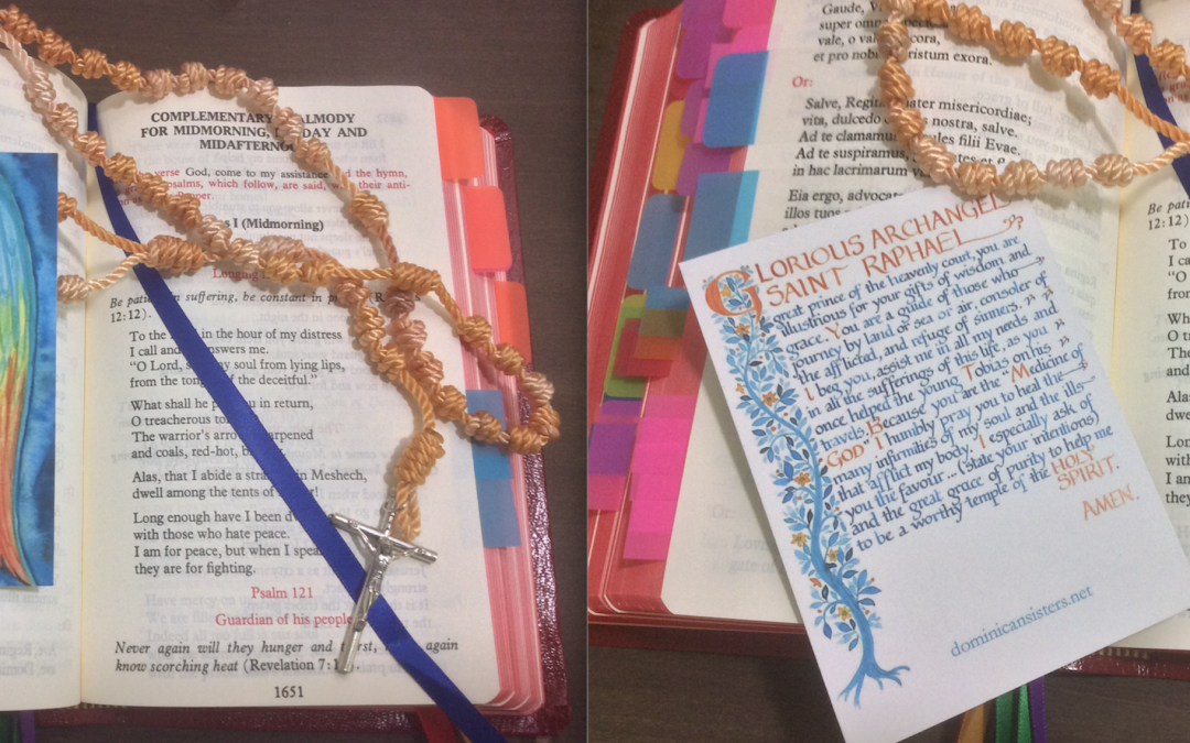 """The Dominican Sisters of Saint Joseph Angel Prayer Card and """"The Lucky Dip"""" Rosary"""